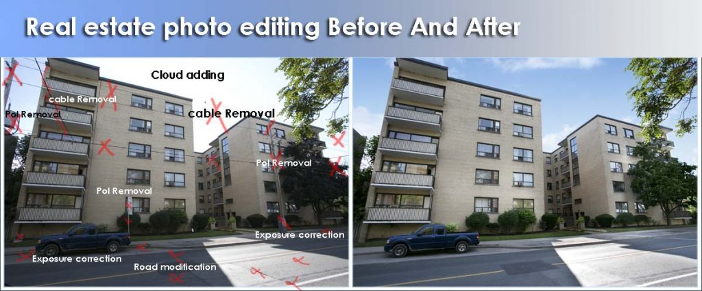 Real Estate Photo Editing before and after
