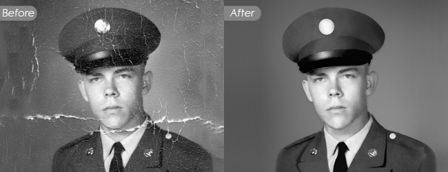 Vintage and black white photo restoration services