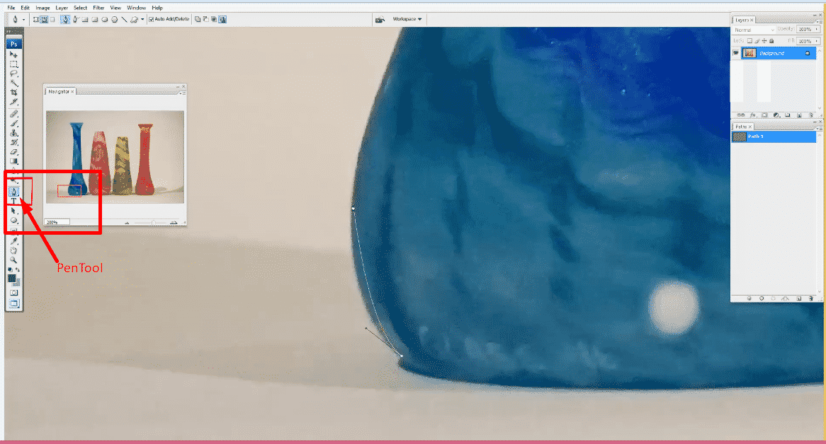 Select Pen tool from left toolbar