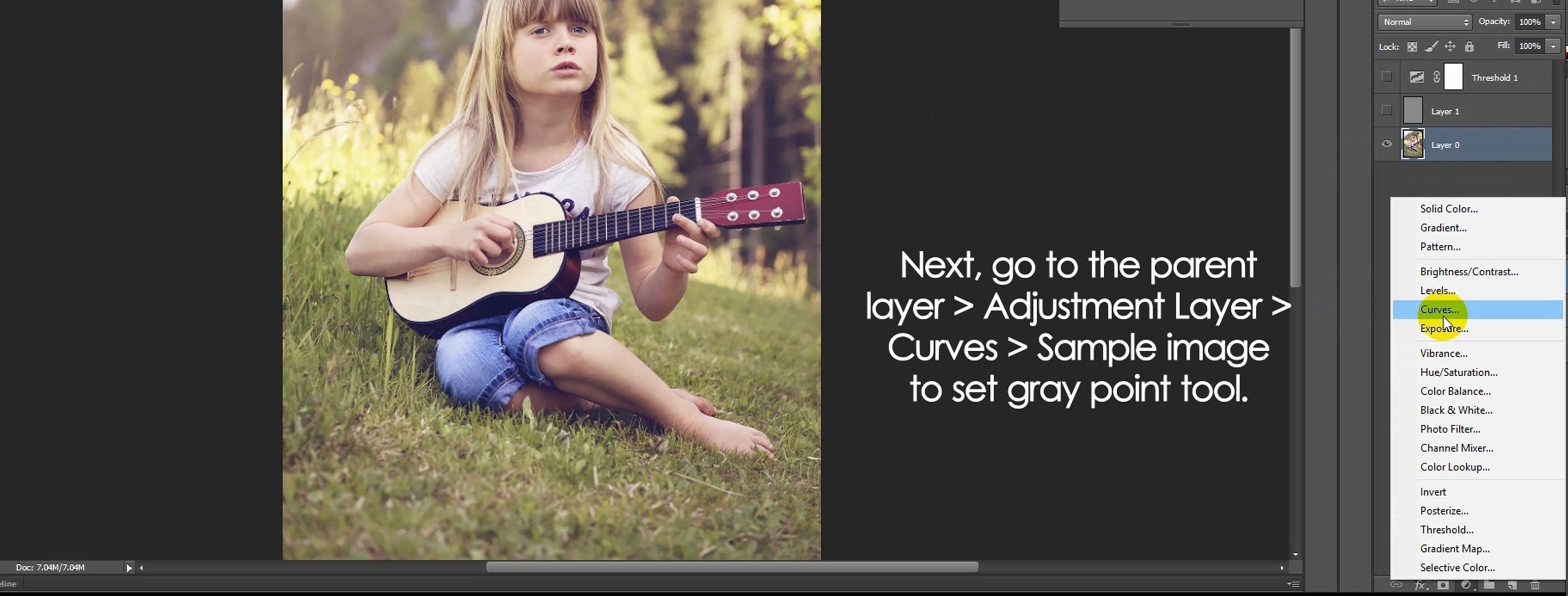 Tutorial basic color correction whitegray balance in photoshop after that go to the parent1st layer adjustment layer curves sample image to set the gray point tool baditri Choice Image
