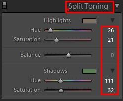Lightroom Split Toning Tool