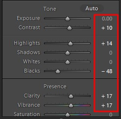 Photoshop Lightroom Tone Correction