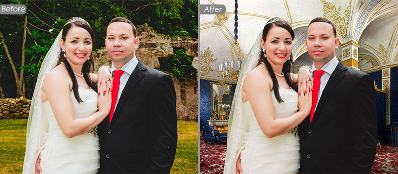 Removing Background and Changing Background Service - Wedding Photo Retouching