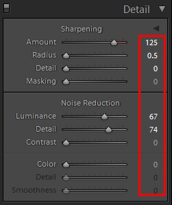 lightroom detail panel for photo sharpening and noise reduction