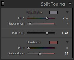 lightroom split tone panel