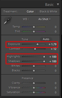 photoshop lightroom basic color panel