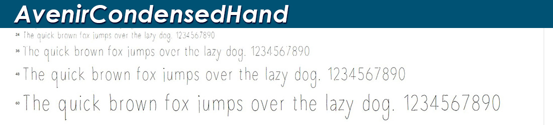 Avenir Condensed Hand Font Image