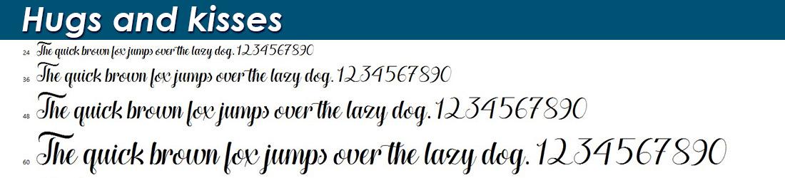 Hugs and kisses fonts
