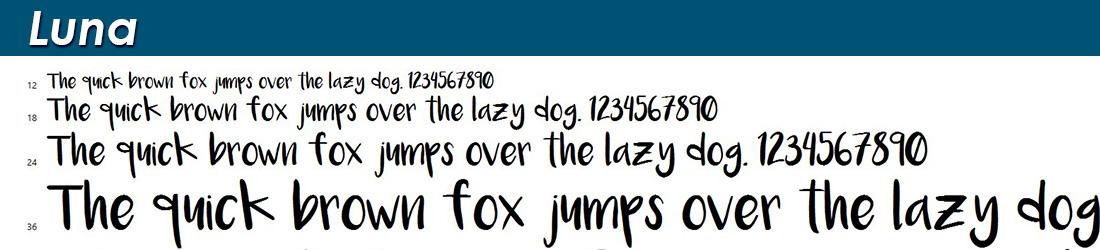 Luna fonts image