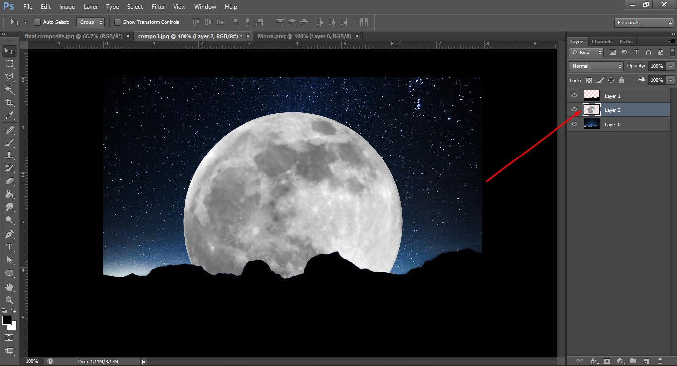 Process of moon image compositing