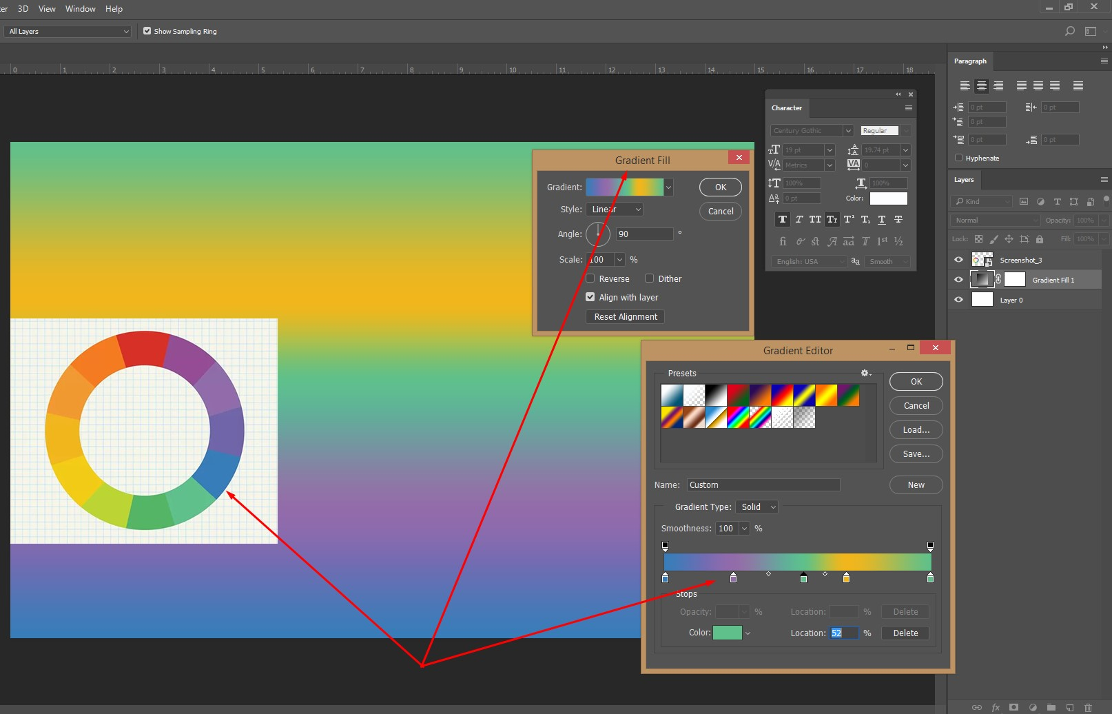 Fill gradient color