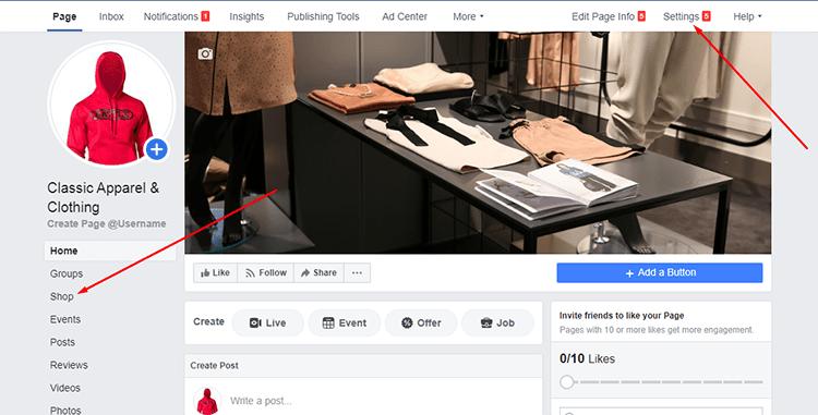 Configured shop page
