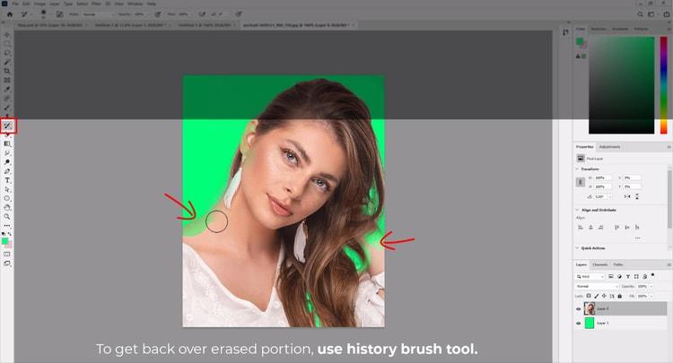 erase correction using history brush tool