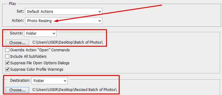 Batch Edit- Select New Action, Source, and Destination